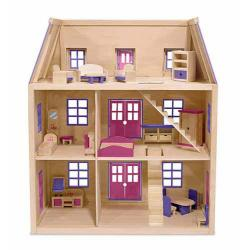 Multi Level Wooden Dollhouse
