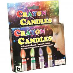 Coloured Flame Crayon Party Candles 6pc
