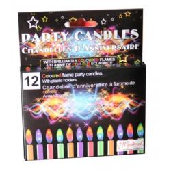 Coloured Flame Party Candles 12pc