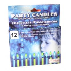 Blue / Green Flame Party Candles 12pc